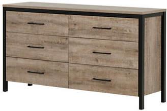 Munich SOUTH SHORE Six-Drawer Double Dresser - Weathered Oak and Matte Black