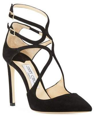 Jimmy Choo Lancer Suede Caged 100mm Pumps