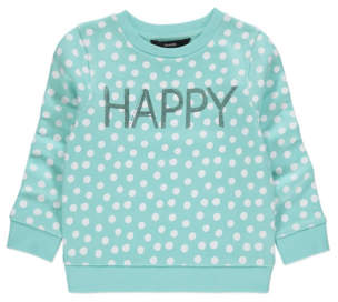 George Blue Polka Dot Slogan Sweatshirt