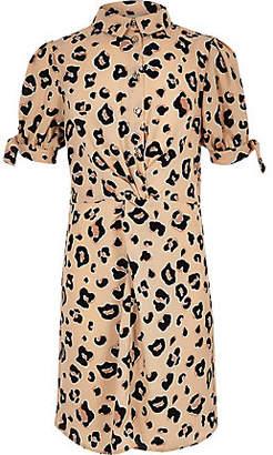 River Island Girls Brown leopard print knot shirt dress