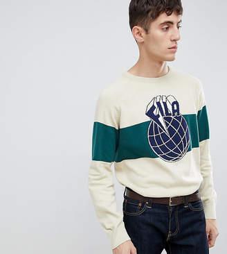 Fila knitted sweatshirt with large globe panel logo in stone