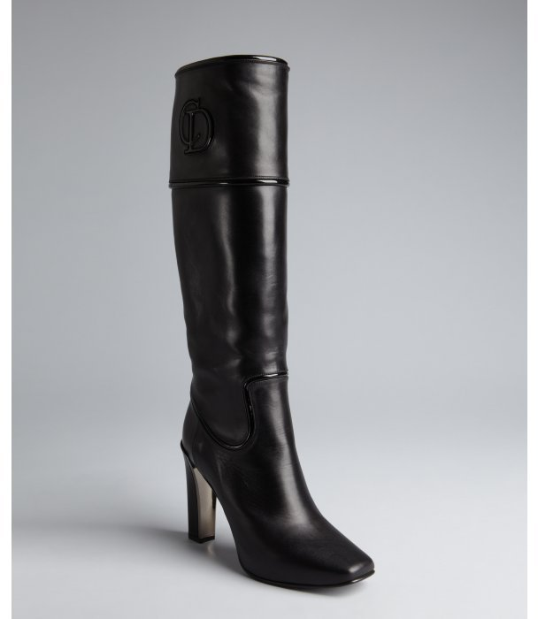 Christian Dior black leather 'Timeless Bottle' mid-calf boots