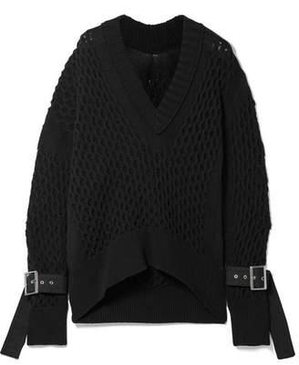 Sacai Embellished Cotton-blend Sweater - Black