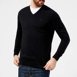 Men's Pima Cotton VNeck Knitted Jumper - Navy