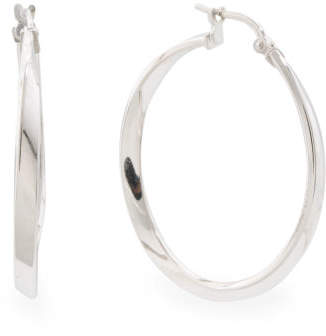 Made In Italy Sterling Silver Wave Hoop Earrings