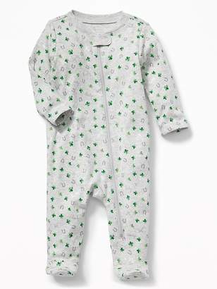 Old Navy St. Patrick's Day-Print Footed One-Piece for Baby