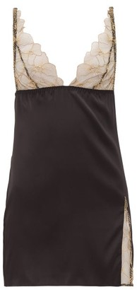 Coco de Mer Danae Lace Cup Silk Blend Slip Dress - Womens - Gold
