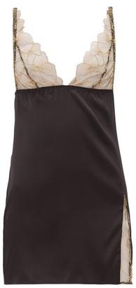 Coco de Mer Danae Lace Cup Silk Blend Slip Dress - Womens - Gold