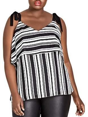 City Chic Plus Stripe it Lucky Tie-Strap Top