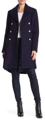 GUESS Pleated Double Breasted Coat