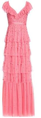 Needle & Thread Ruffled Tiered Embellished Tulle Gown