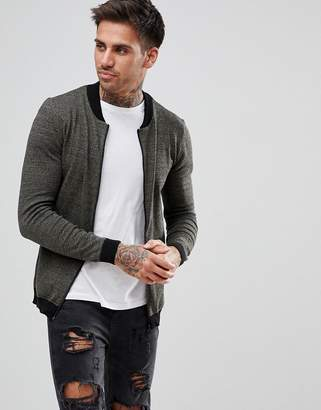 Asos Knitted Muscle Fit Bomber Jacket In Khaki Twist