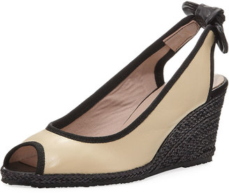 Sesto Meucci Byblos Wedge Espadrille Sandal, White/Black $219 thestylecure.com