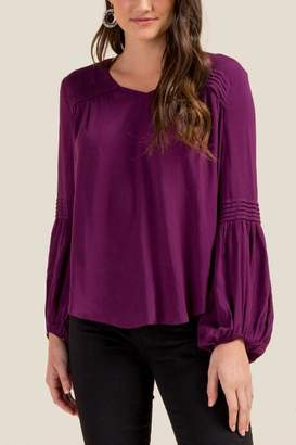 francesca's Rachael Tiered Shoulder Blouse - Purple