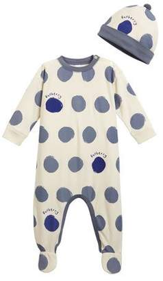 Burberry Hearts & Dots Footie Pajamas w/ Matching Hat, Size 3-18 Months