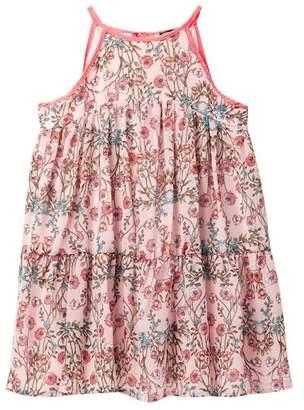 AVA AND YELLY Tiered Chiffon Tie Neck Dress (Big Girls)