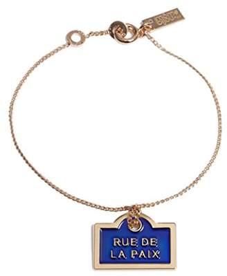 Charm & Chain La Môme Bijou Women's Gold Plated Blue Laque Rue De La Paix Charm Chain Bracelet