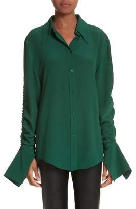 Stella McCartney Ruched Flare Cuff Silk Shirt