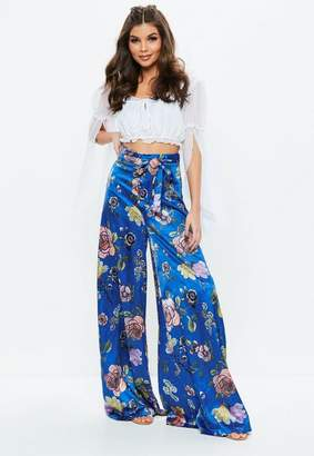 Missguided Blue Printed Wide Leg Pants