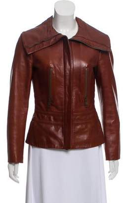 Gucci Leather Fitted Jacket