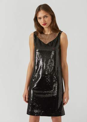 Emporio Armani Dress With Sequins And Polka Dot Insert