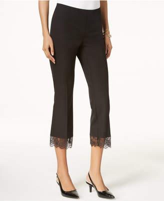 Alfani Cropped Lace-Hem Pants