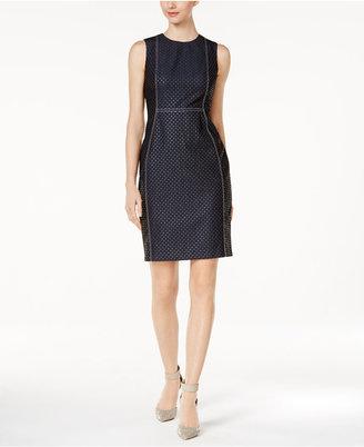 Calvin Klein Dotted Denim Sheath Dress $134 thestylecure.com