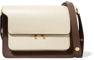 Marni Trunk Small Color-block Leather Shoulder Bag - Cream