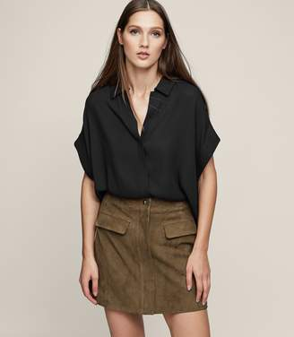 Reiss MARINA POCKET-DETAIL SUEDE SKIRT Khaki