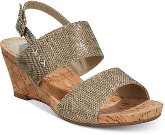 White Mountain Alexus Slingback Platform Wedge Sandals Women's Shoes