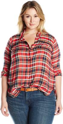 Lucky Brand Women's Plus Size Back Overlay Shirt