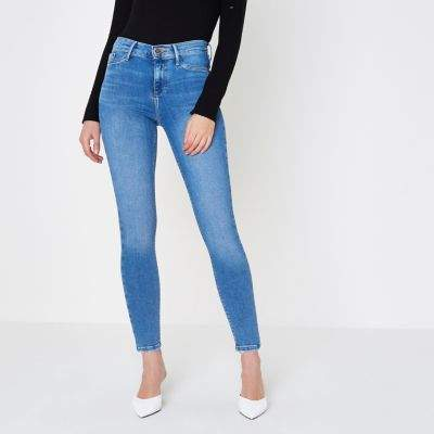 River IslandRiver Island Womens Mid blue Molly skinny fit jeggings