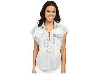 Blank NYC Oversized Short Sleeve Tie-Up Denim Shirt Women's Short Sleeve Knit