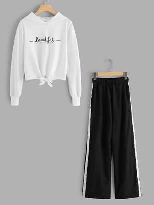 SheinShein Knot Front Sweatshirt & Ribbon Side Pants