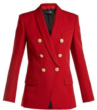Balmain Double Breasted Wool Blazer - Womens - Red