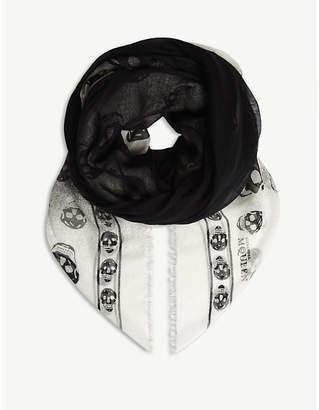 Alexander McQueen Shadow skull-print cashmere-blend scarf