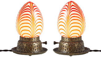 Rejuvenation Pair of Romantic Accent Lamps w/ Pulled Feather Art Glass Shades