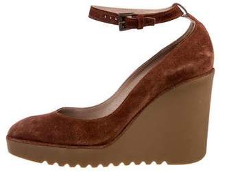 Chloé Suede Round-Toe Wedges