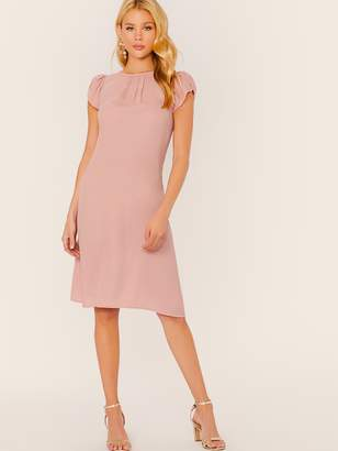 Shein Petal Sleeve Pleated Front Dress