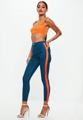 Missguided Blue Side Stripe Skinny Jean