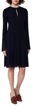 Akris Bell-Sleeve Silk Georgette Plissé Dress, Blue