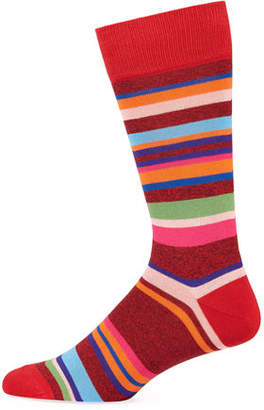 Paul Smith Men's Aster Striped Cotton-Blend Socks