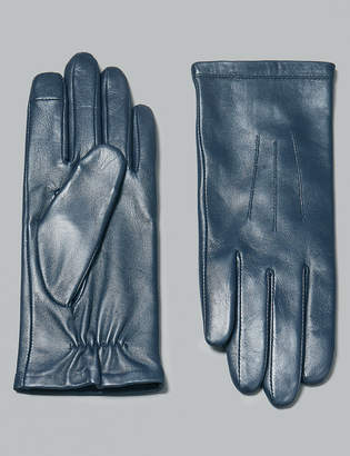 M&S Collection Touch Screen Leather Stitch Detail Gloves