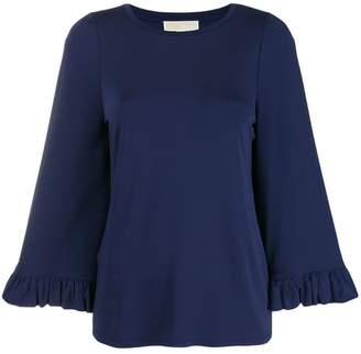 MICHAEL Michael Kors round neck ruffle sleeve blouse