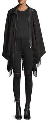 The Kooples Wool& Leather Fringed Moto Poncho
