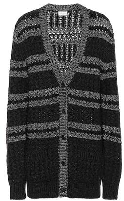 Saint Laurent Metallic-knit striped cardigan