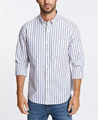 Nautica Men's Stretch Long Sleeve Stripe Button Down Shirt