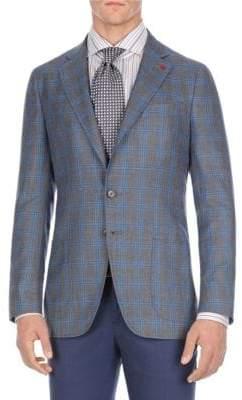 Isaia Regular-Fit Plaid Silk Jacket