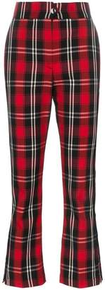 MSGM check kick flare trousers