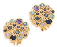Gurhan Pointelle Diamond, Multi-Stone& 24K Yellow Gold Stud Earrings